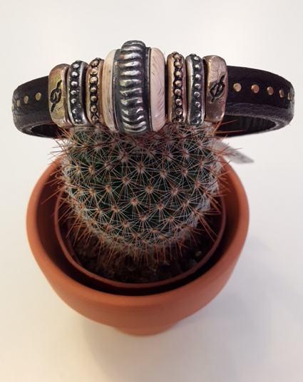 Armband aus Leder mit Sterlingsilber und Bronze - Platadepalo